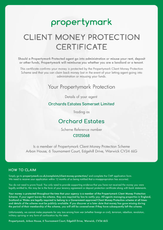 Orchards-estates-Client-Money-Protection-Security-Certificate